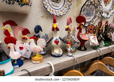 Obidos, Portugal, June 15, 2018: Souvenirs at a roadside stall in Obidos, Portugal