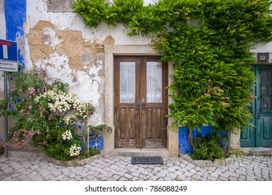 Obidos, Portugal - May 28 2016: The plants in the well preserved medieval small village is one of the most beautiful village in Portugal.