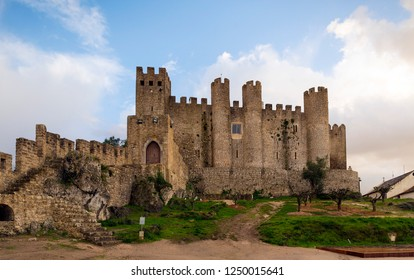 OBIDOS, PORTUGAL - NOVEMBER 20, 2018: The castle and wall of Óbidos it is currently a pousada (hotel)