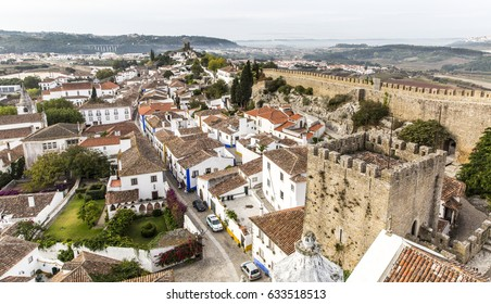 OBIDOS, PORTUGAL - OCTOBER 03, 2015: Aerial view of Obidos