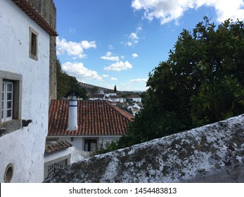 OBIDOS, PORTUGAL - October 20, 2018- The Castle of Obidos (Castelo de Obidos) is a well preserved medieval palace in the town of Obidos in Western Portugal.