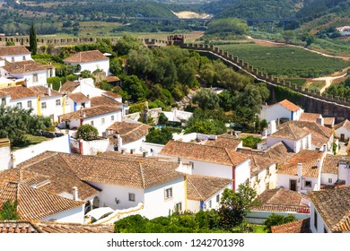Obidos, Portugal, September 12, 2018:view to fortified wall