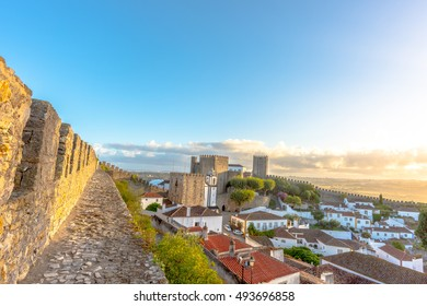 Obidos Portugal.  view of Obidos, Obidos is an ancient medieval Portuguese village, from the 11th century, still inside castle walls. Obidos, Portugal.