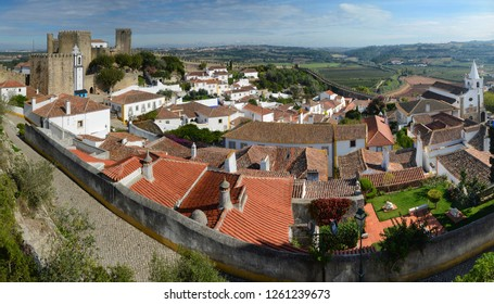 Obidos town, Portugal - October, 2016: Panorama of Obidos one of the most authentic places in Portugal.