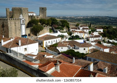 Obidos town, Portugal - October, 2016: View at old town of Obidos one of the most authentic places in Portugal.