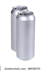 object on white - beverage can close up