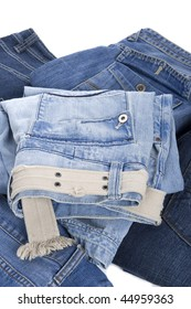 object on white - clothes jeans close up