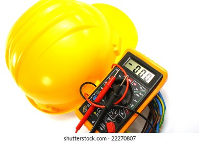 object on white: isolated - electrical measurement and helmet