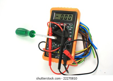 object on white: isolated - electrical measurement - Digital multimeter