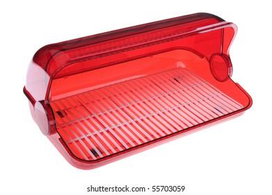 object on white - plastic bread box