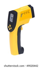 object on white - tool measuring instrument infra red thermometer