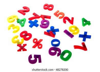object on white - toy plastic numbers