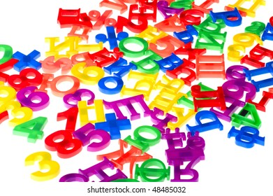 object on white - toy plastic letters and numbers