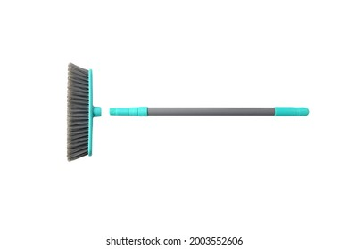 Object, plastic broom with brush push head in gray-blue aqua on white background isolated and clipping path. Item clean and swipe floor indoor.