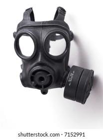 Object shot of a Gas Mask. Close up, Slight intentional depth of field shot.