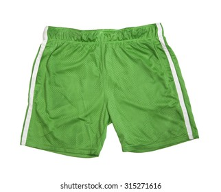 Object of sports stylish wear Bathing football green shorts isolated on a white background. Sporty uniform
