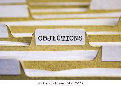 OBJECTIONS word on card index