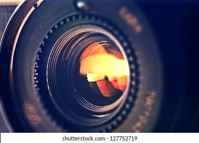 Objective in yellow light.  Tilt-shift lens use.