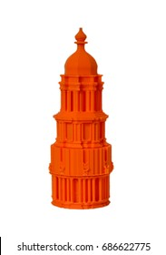 Objects printed by 3d printer Isolated on white background. Figure of an orange tower. Progressive modern additive technology. Concept of 4.0 industrial revolution