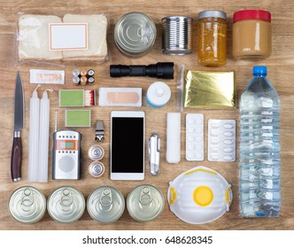 Objects useful in emergency situations such as natural disasters. Top view.