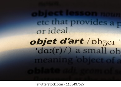 objet d art word in a dictionary. objet d art concept.