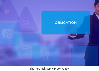 OBLIGATION - business concept presented by businessman