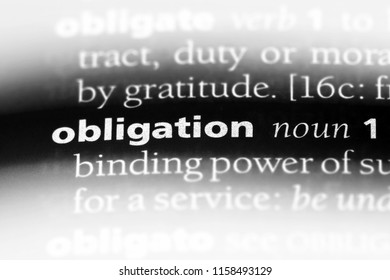 obligation word in a dictionary. obligation concept.