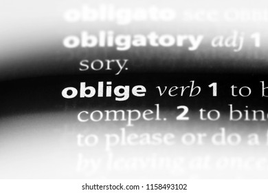 oblige word in a dictionary. oblige concept.