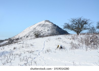 Oblik hill in Central Bohemian uplands, Czech Republic. Winter season in Central Bohemian Highlands. Snow and clear blue sky.