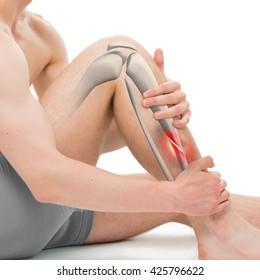 Oblique Fracture of the Tibia - Leg Hurt Anatomy - 3D illustration