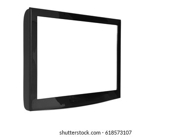 oblique lcd or led and plasma television or tv with black and blank white screen display hanging on the wall in the room at home or hotel for entertainment isolated included clipping path