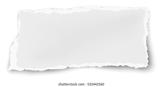 Oblong paper scrap isolated on white background