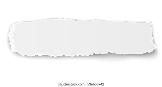 Oblong ragged piece of paper isolated on white background