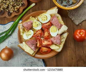 Oblozene chlebicky, open sandwich, Czech  cuisine, Traditional assorted dishes, Top view.