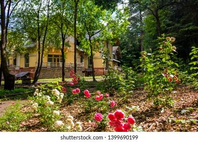 Obninsk, Kaluzhskiy region, Russia - July 2018: Manor Turliki, built 1899-1901. Also known as Dacha Morozovoy (Morozovskaya), the house of Victor Petrovich Obninskiy