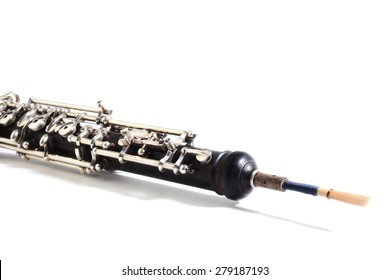 Oboe musical instrument isolated on white Woodwind orchestra instruments