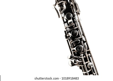 Oboe orchestra instrument woodwind. Musical instruments isolated on white close up