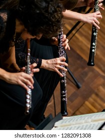 Oboe players performing in a symphony orchestra.Unrecognizable people.