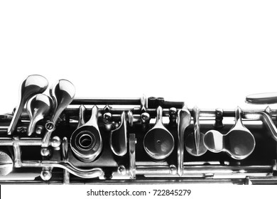 Oboe woodwind music instrument of orchestra. Musical instruments isolated on white close up