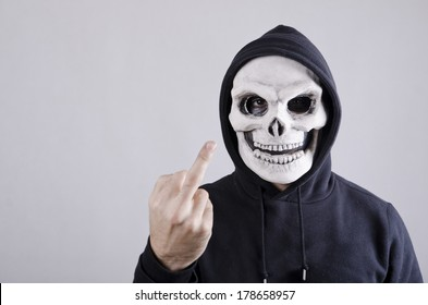 Obscene expressions of vandal with mask