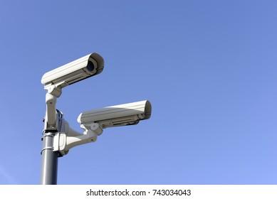 observation camera against blue sky