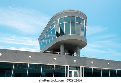 Observation deck in a building with a glass windows
