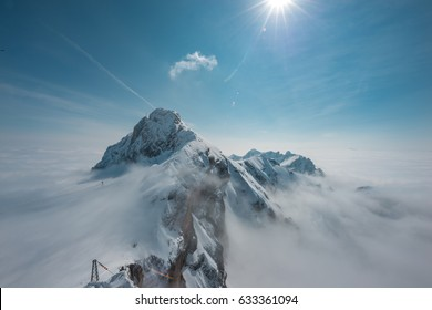 Observation deck at Dachstein/Hunerkogel mountain glacier in the Alps located at Steiermark, Austria. Image of the Stairway to Nothingness on the top of the Dachstein Mountain.