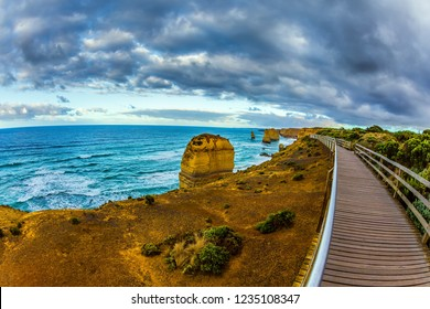 Observation deck on coast. Travel to Australia. Fabulous morning light on the Pacific coast near Melbourne. The concept of active and phototourism