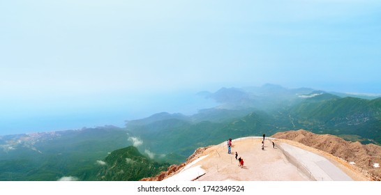 Observation deck on mount Tahtali, Turkey, panoramic view. Top of Tahtali Mountain, altitude - 2365 m
