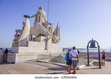 The observation deck on the top of Augusta Street Arch - LISBON / PORTUGAL - JUNE 17, 2017