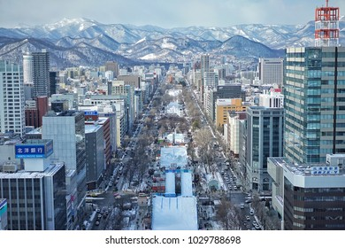 The observation deck of Sapporo TV Tower that is the best place to see the snow festival in the winter and offers a 360° view of Sapporo, Hokkaido, Japan on 9 February 2018