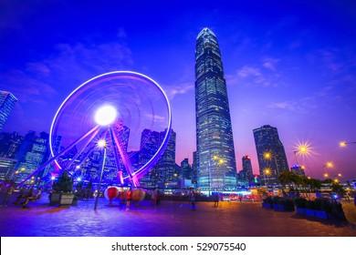 Observation Ferris Wheel in Hong Kong City  Night Light