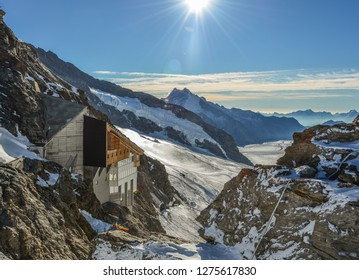 Observation station and Aletsch Glacier in Jungfraujoch, Switzerland. Jungfrau (4158m) is one of Switzerland highest peaks.