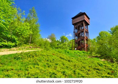 Observation wooden tower on the top of the Koziarz peak in Beskidy mountains, Poland
